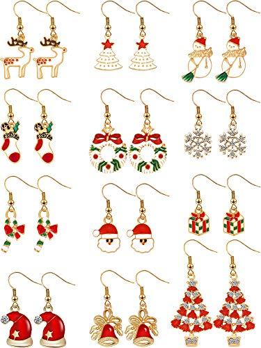 12 Paia Orecchini di Natale Orecchini Pendenti Natale Set di Orecchini Gioielli per Donne Ragazze