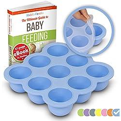 KIDDO FEEDO - Die original Gefrierform mit Silikondeckel zum Einfrieren von Muttermilch in handlichen Portionen - 9 x 75ml - BPA-frei - Gratis eBook mit Rezepten - Blau