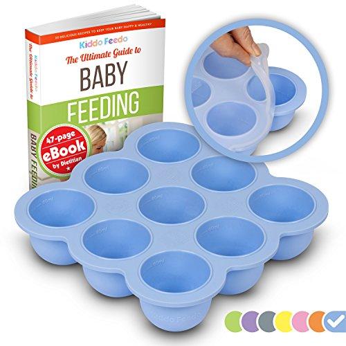 KIDDO FEEDO - Die original Gefrierform mit Silikondeckel zum Einfrieren von Muttermilch in handlichen Portionen - 9 x 75ml - BPA-frei - Gratis eBook mit Rezepten - Blau Original Soße