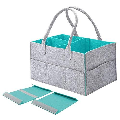 Tragbare Baby Windel Caddy Organizer Tote Bag große Kapazität Kindergarten Storage Bin Korb mit veränderbaren Fächer für Kinder Spielzeug Windeln (grau & blau)