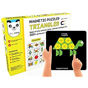 Play Panda New Magnetic Puzzles : Triangles – Includes 250 Colorful Magnets, 100 Puzzles, Magnetic Board, Display Stand