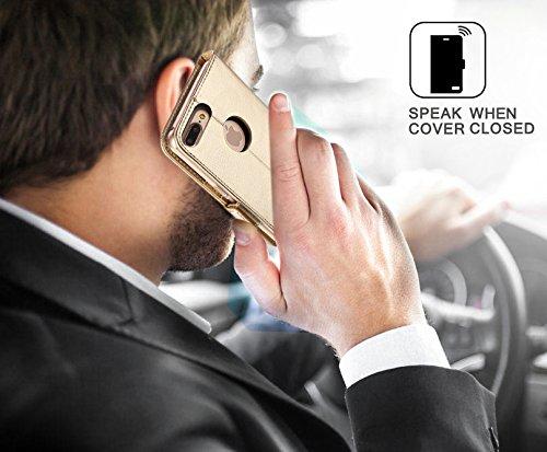 iPhone 8 Plus Hülle , iPhone 7 Plus Hülle, Fyy® [RFID Blockierender Geldbeutel] [Echtes Leder] 100% handgenähter Geldbeutel mit Kartenhaltern für iPhone 8/7 Plus ,Gold 1AA-Gold