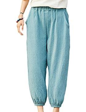 Vepodrau Las Mujeres Ropa De Doble Capa De Pantalones Cortos Pantalones Retro De Tobillo Greyblue One Size