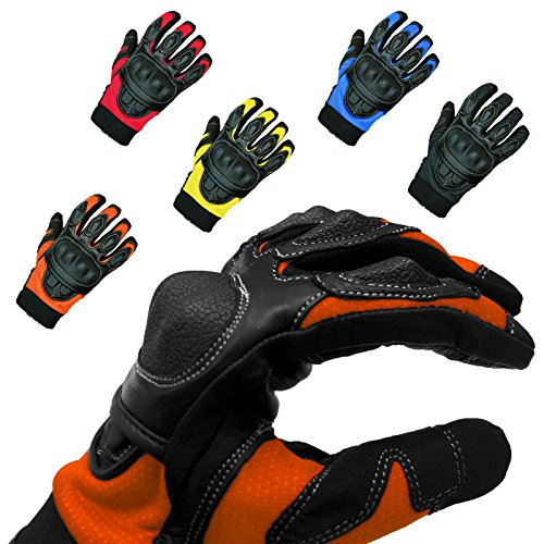 andschuhe Sommerhandschuhe -Sporty- Roller Moped Chopper Leder Handschuhe Herren Damen Frauen Dünn - schwarz-orange - XXL/12 ()