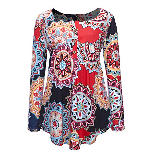 XNBZW Tops Women's Loose Long Sleeve T-Shirt Casual V Neck Tops Daily Button Printed Ladies Fashion Long Sleeve Blouse Shirt Cute Button Center