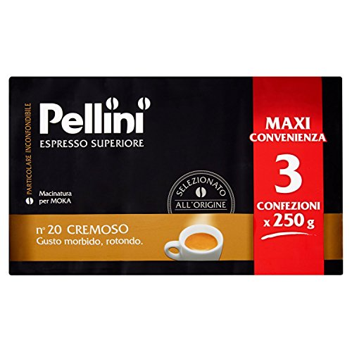 Pellini Caffe per Moka - Gusto Cremoso - Confezione da 3x250 gr (750gr)
