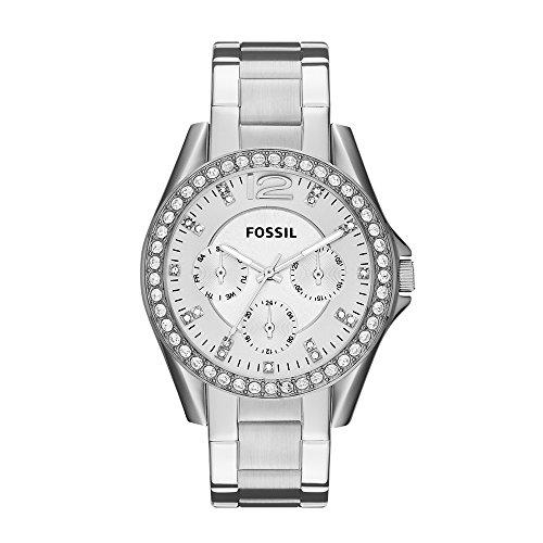 Fossil Riley Damen-Uhr silber / Elegante Edelstahl Armbanduhr mit Strasssteinen - wasserfestes Quarz Uhrwerk inkl. Wochentags- & Datumsanzeige