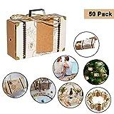 Cajas para Favores Mini Maletas Viaje - Regalos de Caramelos Invitados (50 Piezas) W7.5cm(2.95') x 5cm(1.96) xD2.5cm(0.98') con Etiquetas Vintage y Cordel Yute - Cajas para Bodas, Cumpleaños, Decor
