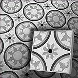 1m² Zementfliesen orientalische Marokko Radia 153_3 piekfein Bodenfliesen Mosaikfliesen schwarz weiß grau