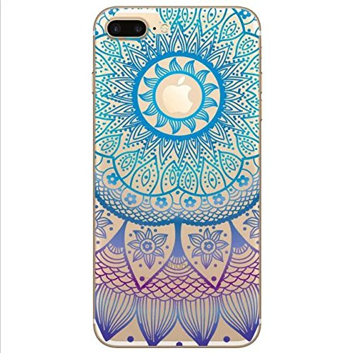 Sycode Custodia per iPhone 8 Plus,Cover per iPhone 8 Plus,Silicone Trasparente Case per iPhone 7 Plus,Liquido Cristallo Chiaro Carina Divertente Motivo Giallo Leone Morbida Flessibile Silicone Gel Ant Blu Mandala Fiore
