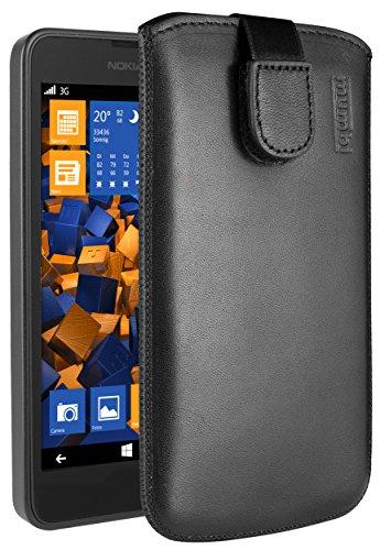 mumbi ECHT Ledertasche für Nokia Lumia 630/635 Tasche Leder Etui (Lasche mit Rückzugfunktion Ausziehhilfe)