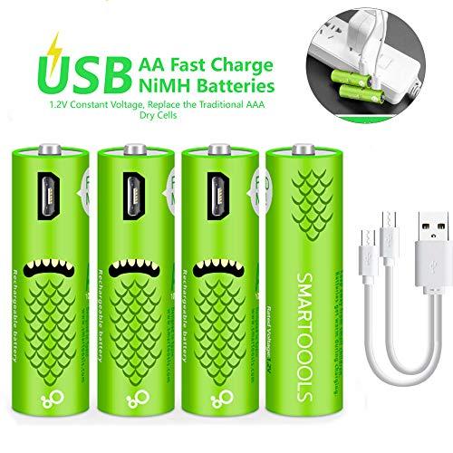 Wiederaufladbare AA-Batterien,wiederaufladbare Elzle-AA-Batterien 1000mAh mit USB-Anschlüssen Hohe Kapazität 1,2 V NiMH Niedriger Selbstentladungs-Akku AA-Aufladung über USB-Kabel (4er Pack) Serie Aa-batterie Pack