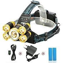 Linterna Frontal LED, SGODDE 8000lm Impermeabilizan 4 Maneras Perfectas para Acampar, Mountain Biking, Pesca, Bodegas, para Acampar, Ir de Excursión y Caminando