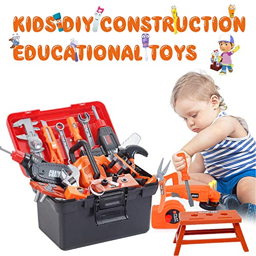 pielzeug Kunststoff Bauwerkzeug Kits Set, Simulation Repair Tool Bohrer Schraubendreher Kit mit Schutzhelm,Klapp-Werkbank,Kinder-Toolbox-Set,Puzzle-Spielzeug-Set für Jungen,Mädchen ()