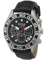 Sector - R3271679125 - Montre Homme - Quartz Analogique - Chronographe - Bracelet en Cuir Noir