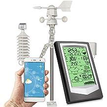 Umitive Estación Meteorológica WiFi con 10 en 1 Sensor Exterior, Estacion Meteorologica con App Medida Temperatura, Humedad Interior Exterior, Viento, Presión del Aire Lluvia Pronóstico