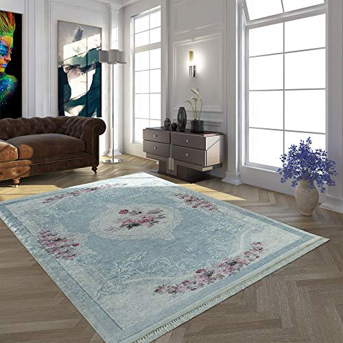Paco Home Moderner Teppich Mit Bedrucktem Vintage Muster Trend Design Rosa Blau, Grösse:160x230 cm -