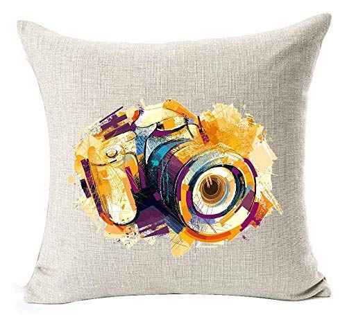 Trsdshorts Colorful Watercolor Sketch Digital Camera Cotton Linen Decorative Throw Pillow Case Cushion Cover Square 18