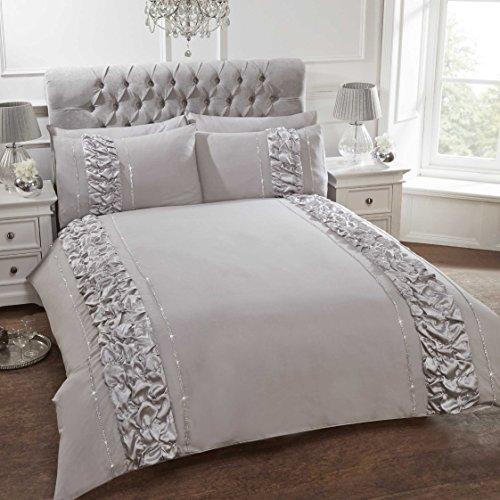 Fancy Bettwäsche Set Luxus Deko Rüsche Bettbezug mit Kissen bestickte Bettwäsche Leinen 30Farben, PROVENCE GREY, King Size