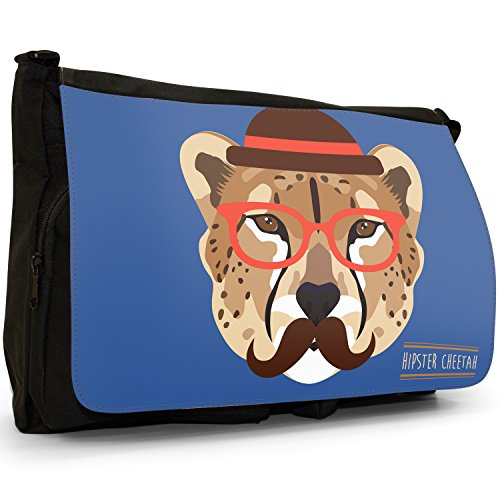 Hipster Bohemian animali grande borsa a tracolla Messenger Tela Nera, scuola/Borsa Per Laptop Hipster Trendy Cheetah
