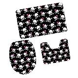 MagiDeal 3pcs Badematten Set Badezimmer Non-Slip Sockel Teppich + Deckel WC-Abdeckung + Badematte, Bunte Schädel Muster - Schädel #3, 79x 49cm