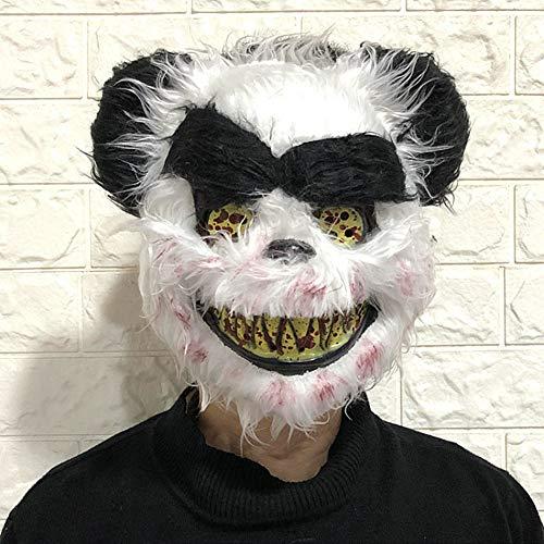 Yalatan Halloween Horror Plüsch Maske, einzigartige Kaninchen Panda Wolf Bär Form Plüsch Maske Festliche Party Supplies (28 x 21 cm) (Panda Bär Maske)