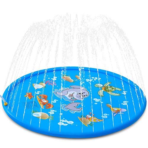 SeeKool Splash Pad,170cm Sommer Garten Sprinkler Wasser-Spielmatte Splash Play Matte für Baby, Kinder, Hund und Haustiere, Outdoor Familie Aktivitäten/Party/Strand