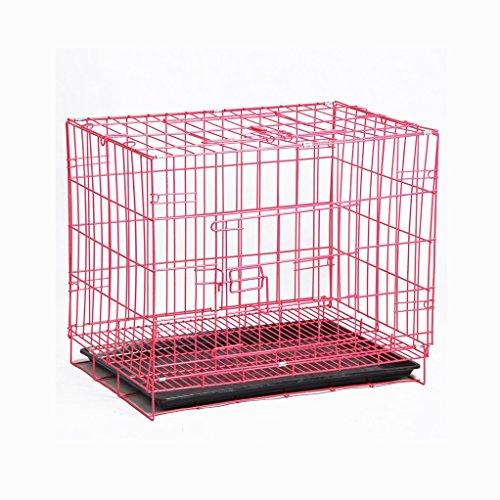 GSS-Käfig für Hunde und Welpen, Zusammenklappbar, Metall, für den Außenbereich, für Reisen, Rosa