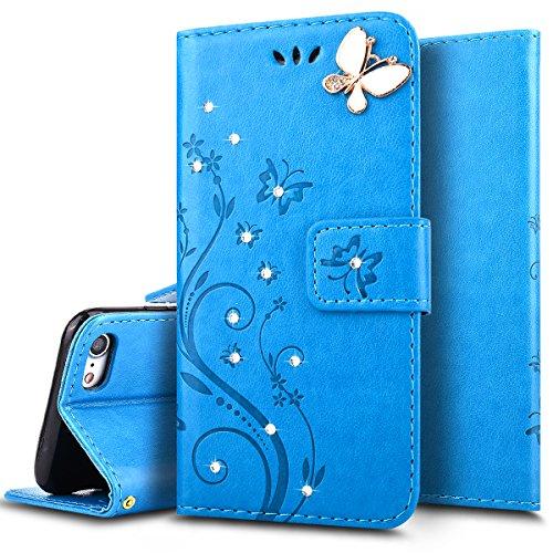 Ukayfe Custodia Cover per Galaxy S5, Luxury Protettiva Flip Portafoglio Copertura Case e Porta Carte di Credito in PU Pelle Supporto Stand con Chiusura Magnetica per Samsung Galaxy S5-Blu