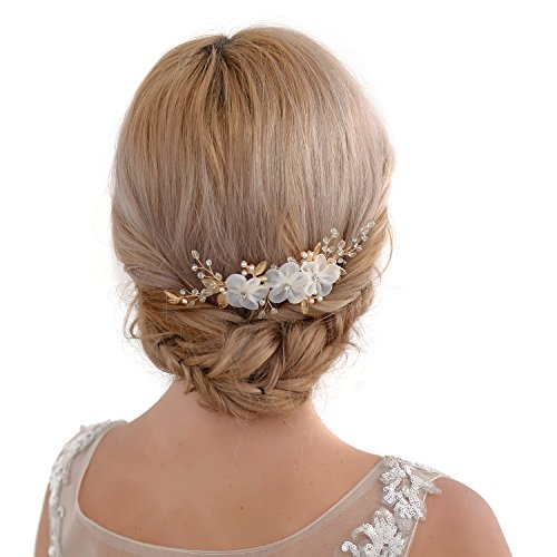 TOPQUEEN Golden Blume Braut Haarkamm Hochzeit Haarschmuck Tiara Diadem, Schmetterlinge (HP76)