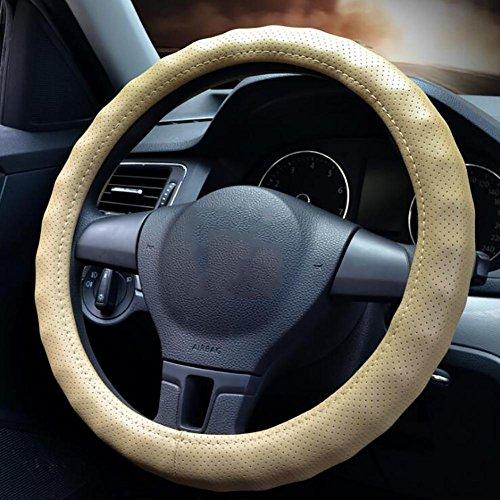 QIAO Auto Lederlenkrad Abdeckung vier Jahreszeiten atmungsaktive ganze Kreis konvex rutschfeste,...