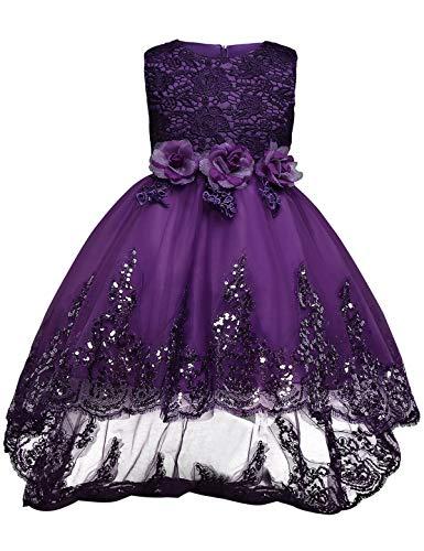 CuteRose Girls' Sleeveless Princess Christmas Communion Tulle Dresses Purple 130