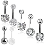 Outee 7 PCS Belly Bars Button Set Xmas Gift Belly Button Ring Belly Piercing Cubic Zirconia Ball Navel Rings Belly Bar Rings Body Piercing Jewelry Set