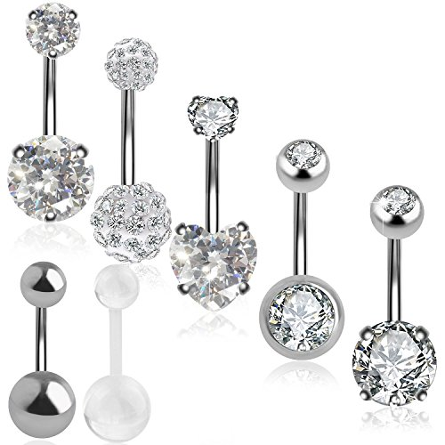 7a6800177 Outee 7 PCS Belly Bars Button Set Xmas Gift Belly Button Ring Belly  Piercing Cubic Zirconia