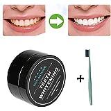 SKY Popular !!!Dientes que blanquean el polvo de dientes Naturales orgánicos activados carbón de bambú pasta de dientes 1 Teeth Whitening Powder +1xtoothbrush