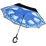 Inversa paraguas, doble capa cortavientos, manos libres asa en forma C, para coche Escape lluvia y sombra multifunción, contra las gotas de lluvia