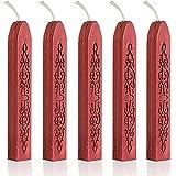 FRE 5 piezas rojo la piel y ayuda a varillas de cera para Color de letra Manuscrito de sellado con cierre adhesivo