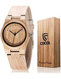 0a4077992338 CUCOL Mujeres Bambú Grabado Cuero de Vaca Correa Reloj de Madera analógico  Cuarzo Reloj ...