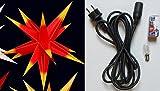 Adventsstern 40cm rot mit gelben Spitzen - Komplett-Set inkl. Aussenkabel & Glühbirne, Aussenstern wetterfest - Stern für aussen - Outdoor-Star klein