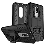 #10: Kaira Hard Armor Hybrid Rubber Bumper Flip Stand Rugged Back Case Cover for Motorola Moto M (Black)