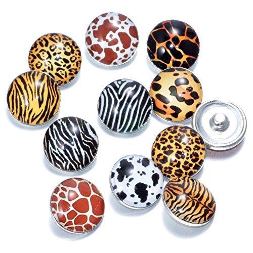 Soleebee Glas Aluminium Click Button fit 5.5mm-Knopfloch Schmuck Charms Set 12 Stücke - Zebra Leopard (Leopard Stück Ein)
