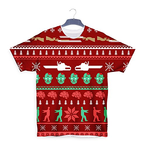 Zombie Walking Dead Christmas Xmas Gift T shirt Weiß