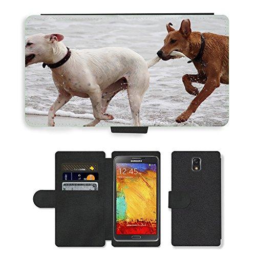 Just Phone Cases PU LEDER LEATHER FLIP CASE COVER HÜLLE ETUI TASCHE SCHALE // M00421764 Hunde Stöckchen zu spielen Beißen Romp // Samsung Galaxy Note 3 III N9000 N9002 N9005