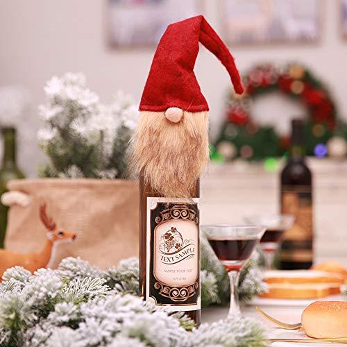 Sacchetto di Copertura della Bottiglia di Vino di Natale Vecchio Senza Volto Bambola Decorazioni per Feste di Capodanno Decorazioni per Borse di Natale per La Tavola di Feste per La Casa Regalo