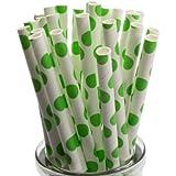 50 Larges pailles en papier à pois vert