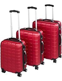 TecTake Set 3 piezas maletas ABS juego de maletas de viaje trolley maleta dura | 4 ruedas de 360º | 2 mangos y un asa telescópica - disponible en diferentes colores (Rojo Vino | no. 402670)