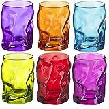 Bormioli Rocco Sorgente Trinkgläser, farbig, 6-teiliges Set, je 300ml, Blau, Violett, Pink, Grün, Orange, Rot
