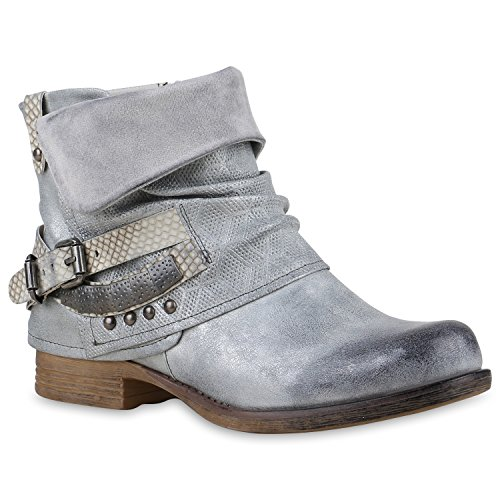 Damen Biker Boots Used Look Stiefeletten Nieten Schuhe Silber