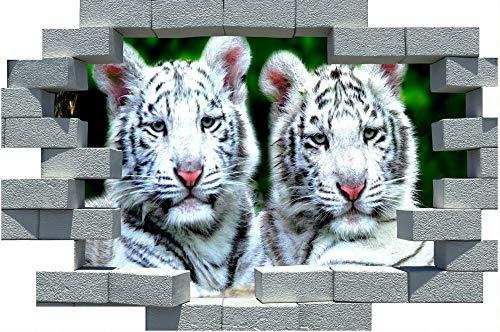 PANDABOOM 3D Gebrochene Ziegel White Tiger Cubs Wandaufkleber Poster Wandtattoos Selbstklebende PVC Wasserdicht Für Schlafzimmer Dekoration 50X70Cm (White Tiger Wandtattoo)