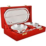 Artistic Handicrafts Brass Bowl, Spoon & Tray Set, 5 Piece, Silver